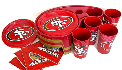 San Francisco 49ers, fathers birthday gift, Paper Plates, Napkins and Plastic Tumbler, also includes generic T V Buffet Trays.