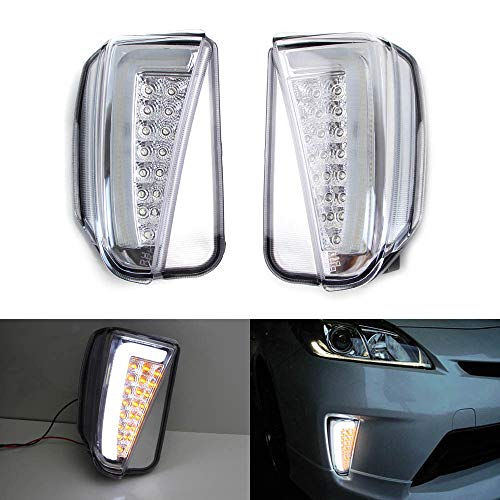 iJDMTOY Clear Lens LED DRL/Turn Signal Lights For 2012-2015 Toyota Prius (LCI Facelift Models), JDM Style Direct Fit Lower Bumper Lights Assembly