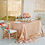 Wedding Sequin Tablecloth, Rose Gold 90x90inch Sequin Table Cloth for Birthday Party