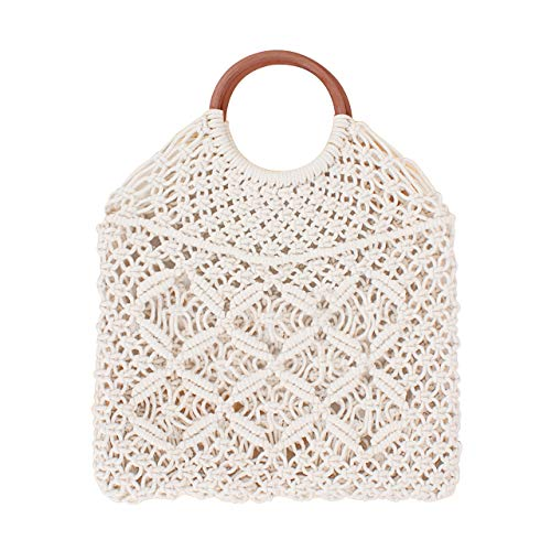 Handbag Net - Ayliss Handmade Straw Bag Travel Beach Fishing Net Handbag Shopping Woven Shoulder Bag for Women/Girls (White#)