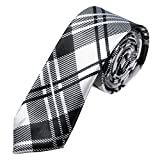 Tie - SODIAL(R)Man Silk Slim tie for party wedding evening Necktie checkered Tie black and white