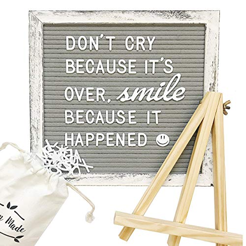(Vintage Distressed Gray and White Felt Wooden Letter Board w/Changeable, Thick-Pronged, Pre-Cut Letters, and Pack of Cursive Words. Easel Stand, Letter Bag, Measuring String, and Emoji Chart Included)