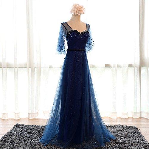Robe Goddess Étage Robe Manches Courtes De Mariée Marine Robe Longueur Banquet 6 Sun 12 Sweetheart Bleu Formelle Soirée Parti FdWOnq