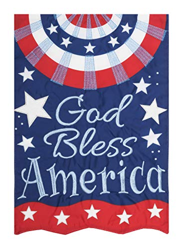 God Bless America - Garden Size, Emboidered Applique Style, Double Sided Decorative Flag - Approx. 12 Inch X 18 Inch Copyright, Licensed and Trademarked by Custom Decor Inc.