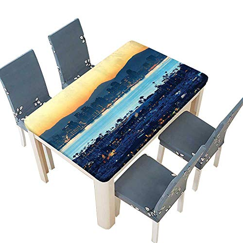 PINAFORE Fitted Polyester Tablecloth  Collection San Diego at Sunrise in Harbor Waterfront Cityscape Business District Scenic Vi Washable for Tablecloth W25.5 x L65 INCH (Elastic Edge)