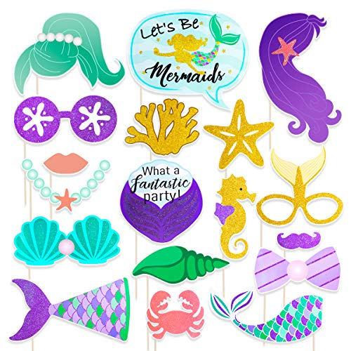 Amosfun Photo Booth Props (Mermaid Style)]()