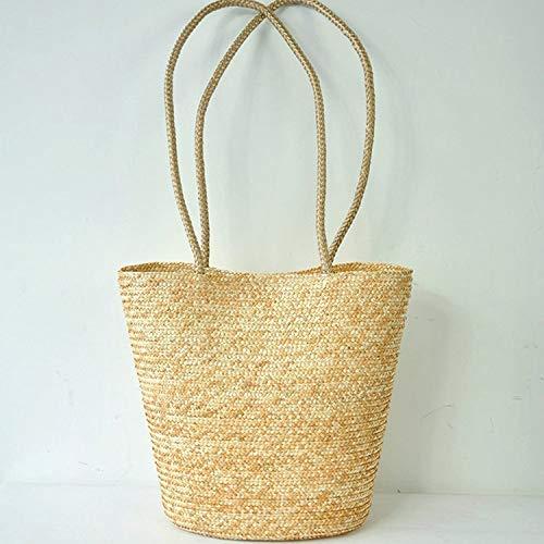 de paja bolso estilo del la elegante europeo elegante asas de la de simple REFURBISHHOUSE bolsa tejida FqgUn00z