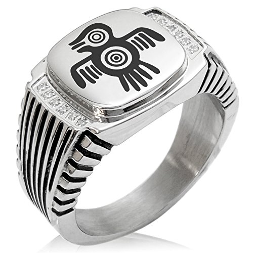 - Two-Tone Stainless Steel Aztec Truth & Wisdom Eagle Rune Engraved Clear Cubic Zirconia Ribbed Needle Stripe Pattern Biker Style Polished Ring, Size 12