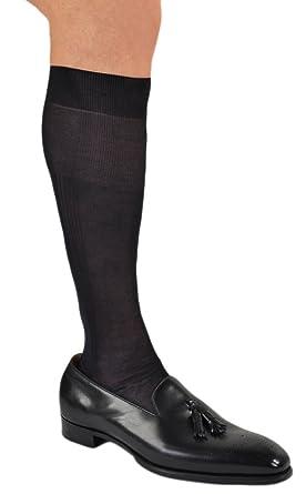 a344f3f88b82c Stunning Pure Silk Formal or Dress Over-the-Calf Socks 1 Pair Black Small