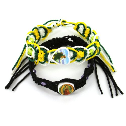 Our Lady of Guadalupe and Saint Jude Hand Woven Bracelets - Ideal as a Friendship Bracelets - Excellent Quality, Assorted Color Bracelets