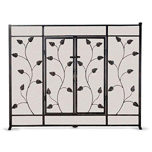 Flat Leaf & Vine Screen with Doors - Black - Napa Forge Leaf