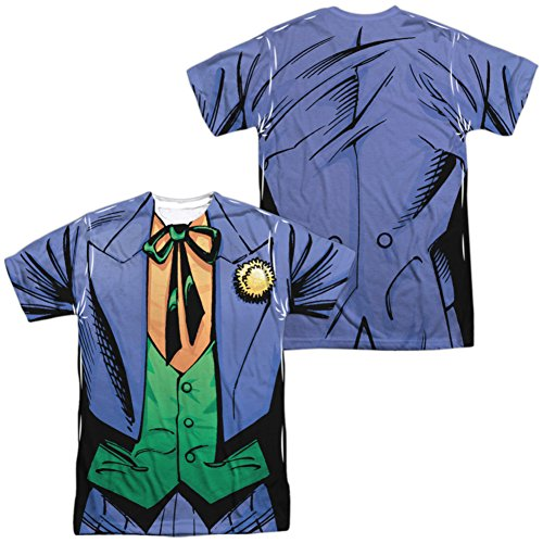 [Trevco Unisex-Adults Batman Joker Uniform Double Sided T-Shirt, White, X-Large] (Mr Freeze Costume Adults)