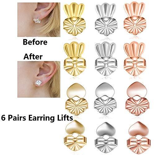Tsuen Original Magic Earring Lifters, 6 Pairs Magic Backs for Earrings Adjustable Secure Earring Lifts Safety Drooping Earring Backs for Ear Lobe Lifter (2 Silver/ 2 Gold/ 2 Rose Gold) (Backs For Earrings)