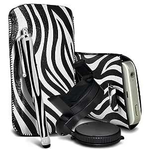Nokia Lumia 700 Protección Premium de Zebra PU tracción Piel Tab Slip Cord En cubierta de bolsa Pocket Skin rápida Con Matching Large Stylus pen & 360 Sostenedor giratorio del parabrisas del coche Cuna Blanco y Negro por Spyrox