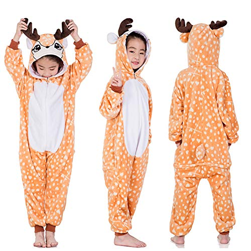Kid Animal Pajamas Halloween Christmas Cosplay Costume Onesies Homewear Nightclothes Sleepwear Unisex (No Shoes) (M (Height:39.4-43.3