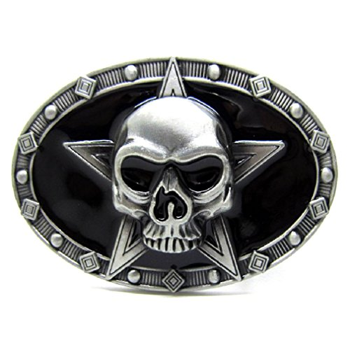 Men Vintage Silver Star Evil Skull Skeleton Metal Belt Buckle Cowboy Punk - Skull Buckle Biker Belt