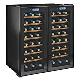 Wine Enthusiast 272 48 03 51W Silent 48 Bottle Touchscreen Double Door Dual Zone Wine Refrigerator, Black