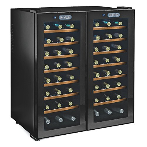 48-Bottles Double Silent Wine Cellar, Dual Zone Wine Cooler w/ Touchscreen by GIFTS PLAZA