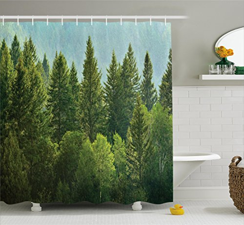 (Ambesonne Nature Decor Shower Curtain by, Forest Pine Tree Tops Refreshing Eco Woodland Wilderness Mountainside Landscape, Fabric Bathroom Decor Set with Hooks, 75 Inches Long, Green)