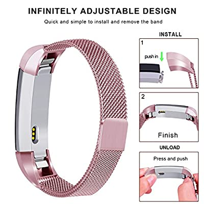 """Tobfit Metal Bands Compatible with Fitbit Alta, Fitbit Alta HR & Fitbit Alta Ace Milanese Stainless Steel Magnetic Loop Replacement Accessories Bracelet for Women Men, Small & Large (5.5"""" - 9.9"""")"""