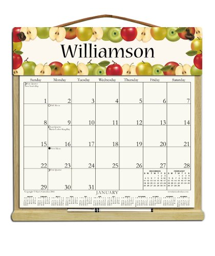 Personalized Wooden Refillable Calendar Holder filled with 2018, 2019 and an order form for (A-glance Personalized Wall Calendar)