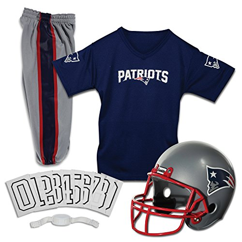 New England Patriots Halloween Costume (Franklin Sports Deluxe NFL-Style Youth Uniform - NFL Kids Helmet, Jersey, Pants, Chinstrap and Iron on Numbers Included - Football Costume for Boys and)