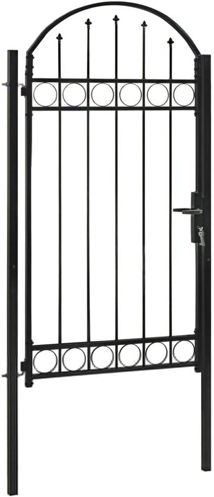 Festnight Puerta Metálica Puerta de jardín Puerta Cerca Verja Pared con Arco Superior 100x200 cm Acero Negro: Amazon.es: Hogar