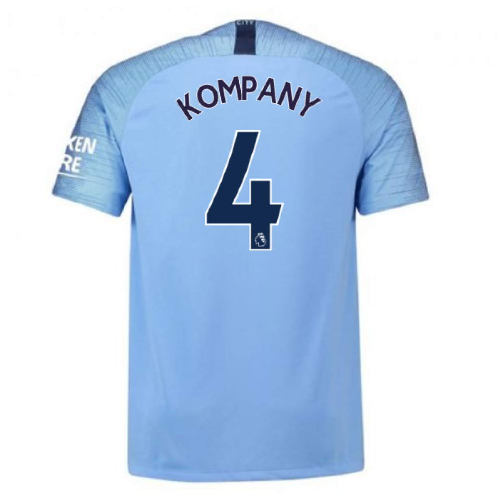 2018-2019 Man City Home Nike Football Soccer T-Shirt Trikot (Vincent Kompany 4)
