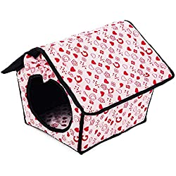 Wouke Pet Dog Bed, Pet Cat Tent House Soft Foldable Sleeping Kennel Winter Warm Nest Cave
