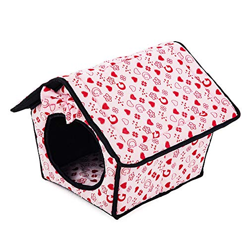 (Pet House, Inkach Small Dog Tent Bed | Cute Doggy Cave Kennels | Winter Warm Puppy Nest Hut Doggy Soft Cushion Sleeper (Pink))