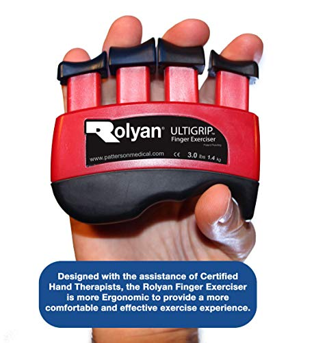 (Rolyan Ultigrip Finger Exercisers, Red, 3-Pounds, Finger & Grip Strengthener for Physical Therapy, Ergonomic Hand Workout Aid, Portable Hand Exerciser for Home, Clinic, Rehabilitation )