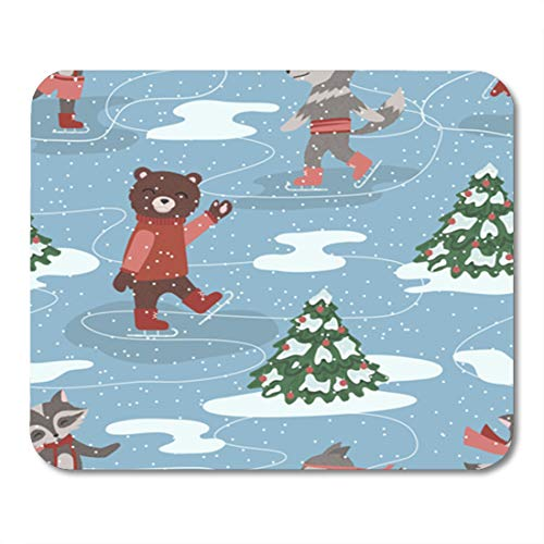 Semtomn Gaming Mouse Pad Blue Ice of Skating Animals Red Bear Black Bow 9.5