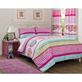Mainstays Kids Hearts and Stripes Patchwork Bed-in-a-Bag Bedding Set includes: Comforter, Flat Sheet