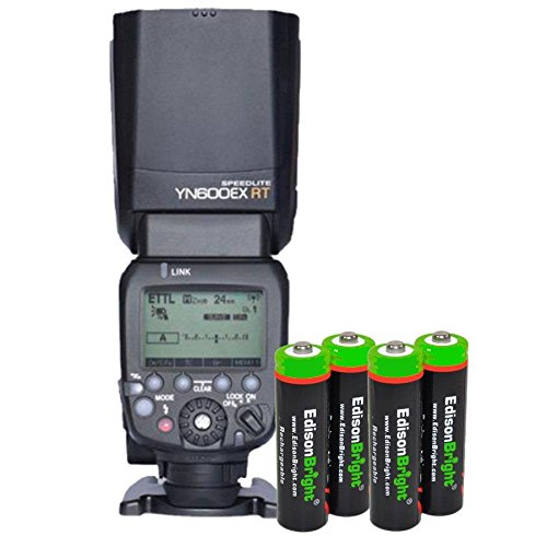 YONGNUO YN600EX-RT Auto TTL HSS Flash Speedlite YN600-EX-RT buit-in Radio Slave for Canon with 4 X EdisonBright Ni-MH Rechargeable AA Batteries Bundle for Canon Cameras