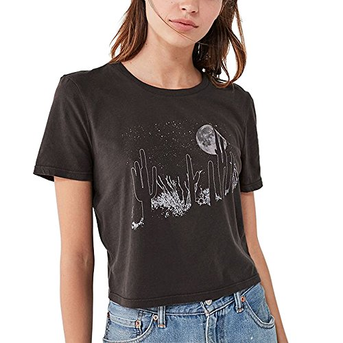 Summer Style Black T Shirts Women Vintage Aesthetic Graphic Grunge Crop Tops Plus Size (Black, M)