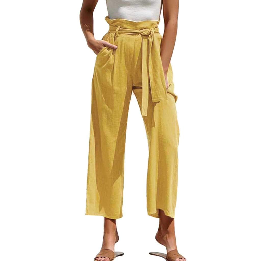 Hattfart Womens Soft Palazzo Wide Leg Pant with Pockets High Waist Casual Loose Flowy Pants with Belt (M, Yellow)