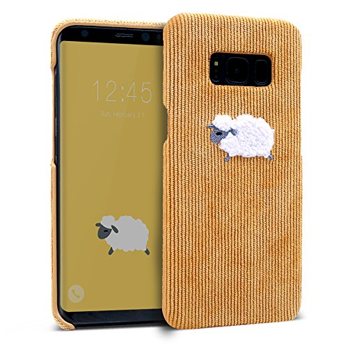Galaxy S8 Plus Case, DesignSkin [Corduroy Boucle] Embroidered Soft Fabric Ultra Slim Thin Lightweight Non-Slip Grip Luxurious Cute Unique Fashion Embroidery Design Sheep Character Hard Cover (Yellow)