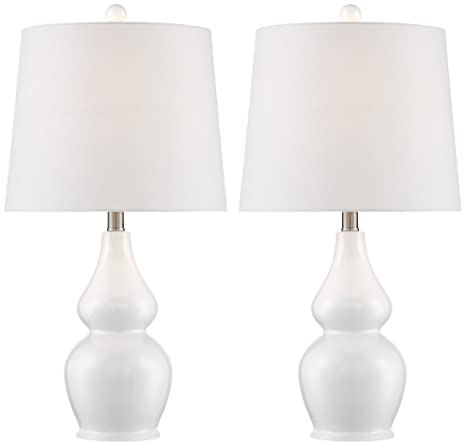 Jane White Ceramic Double Gourd Table Lamp Set Of 2