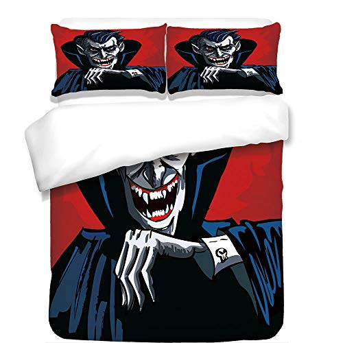 iPrint 3Pcs Duvet Cover Set,Vampire,Cartoon Cruel Old Man with Cape Sharp Teeth Evil Creepy Smile Halloween Theme,Blue Red Grey,Best Bedding Gifts for Family/Friends