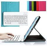 Tastiera per iPad air, Besmall Tastiera di Lingua Italiana Bluetooth Wireless Rimovibile con Cavo Ricarica USB per Apple iPad Air 1 air1 (numero modello A1474/A1475)+Custodia Cover Protettiva in Pelle Sintetica -Celeste-XLYP23E-IG