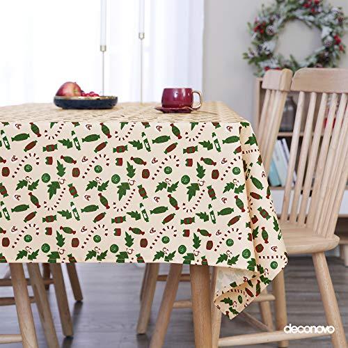 Deconovo Mantel Cocina Decorativo Manteles Mesa Rectangular Tela 132 x 178 cm Beige