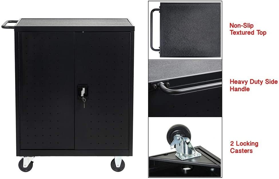 30 Device Mobile Charging and Storage Cart for iPads, Chromebooks and Laptop Computers, Up to 13-inch Screen Size, Surge Protection, Front & Back Access Locking Cabinet : Office Products
