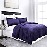 micromink goose down alternative comforter set all season hotel quality luxury with shams fullqueen purple