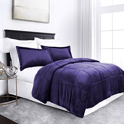 Price comparison product image Sleep Restoration Micromink Goose Down Alternative Comforter Set - All Season Hotel Quality Luxury Hypoallergenic Comforter/Blanket with Shams -Full/Queen - Purple
