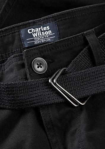 Charles Wilson Men's Comfort Stretch Belted Cargo Shorts (Black, 34)