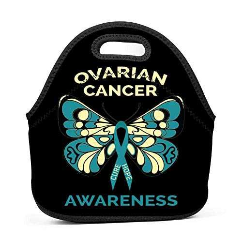 Stylish Ovarian Cancer Butterfly Teal Ribbon Designed Handbag/Tote Lunch Bag/Bento Bag/Picnic Box