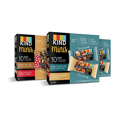 (KIND Bar Mini's, Variety Pack, Gluten Free, 100 Calories, Low Sugar, .7oz Bar, 30 Count)