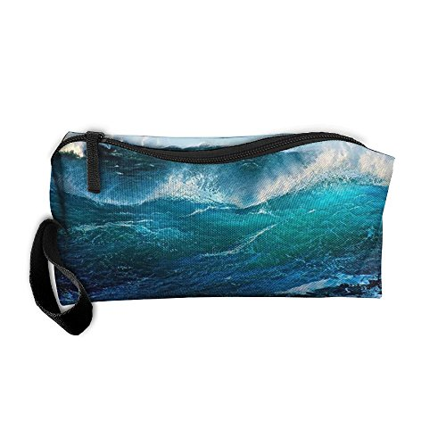 NEW Rolling Waves Portable Travel Cosmetic Cosmetic Case Women's Men's Razor Storage Bag