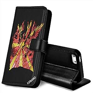 Bandera Rasgada macedonia, Negro Funda de Piel Cuero Case Magnética con Función de Soporte Carcasa con Diseño Texturado para Apple iPhone 5 / 5S