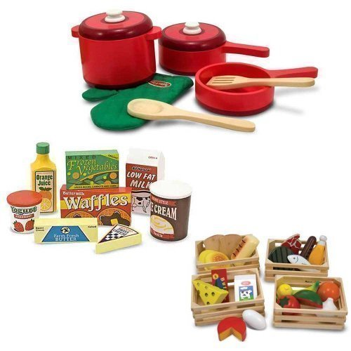 (Melissa & Doug Deluxe Wooden Kitchen Accessory Set with Wooden Food Groups and Fridge Food)